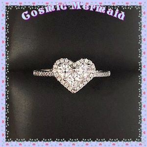 1 Ct🆕⭐️Round Diamond Paved Heart Band Ring⭐️LD